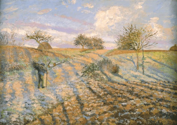 Camille Pissarro, Gelée blanche à Ennery, 1873 קאמי פיסארו, כפור באֶנֶרִי, 1873