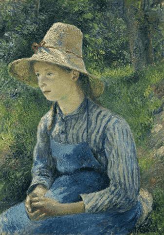 Camille Pissaro, Jeune Paysanne avec un chapeau de paille, 1881 קאמי פיסארו, כפרית צעירה חבושה בכובע קש, 1881