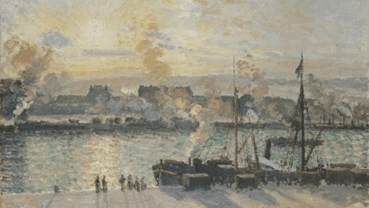 Camille Pissaro, Quai de la Bourse, Rouen, soleil couchant, 1898 קאמי פיסארו, רציף הבורסה, רוּאָן, שקיעה, 1898