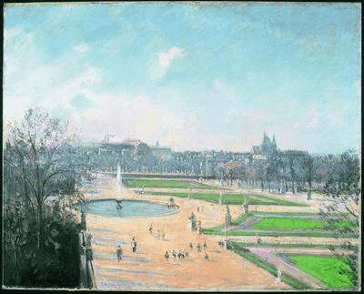 Camille Pissarro, Le Jardin des Tuileries, après-midi, soleil, 1900 קאמי פיסארו, גן הטווילרי, אחר הצהריים, שמש, 1900