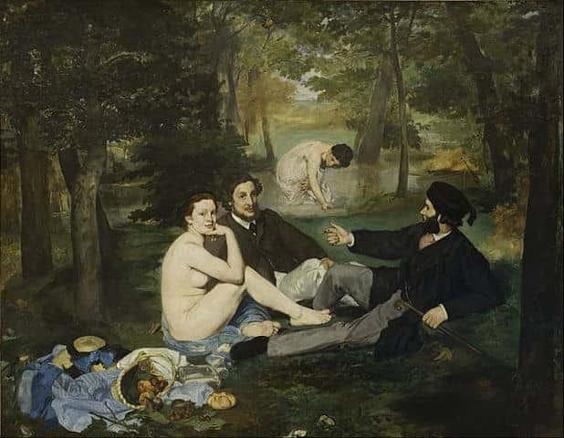 אדואר מאנה, ארוחת בוקר על הדשא, 1863, מוזיאון דוֹרְסֶהץ מקור תמונה ויקיפדיה.