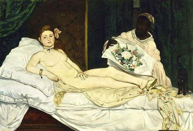 אדואר מאנה, אולימפיה, 1863, מוזיאון דוֹרְסֶה. מקור תמונה ויקיפדיה.