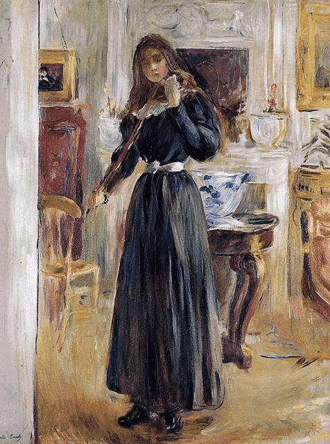 ברת מוריזו, ז'ולי מנגנת בכינור, 1893, אוסף פרטי