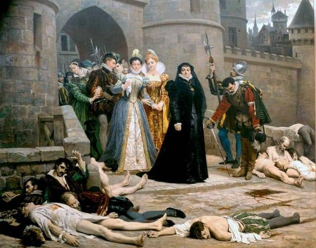 קתרין דה מדיצ'י יוצאת מארמונה בבוקר שלמחרת טבח ברתולומיאו הקדוש. מקור תמונה ויקיפדיה.