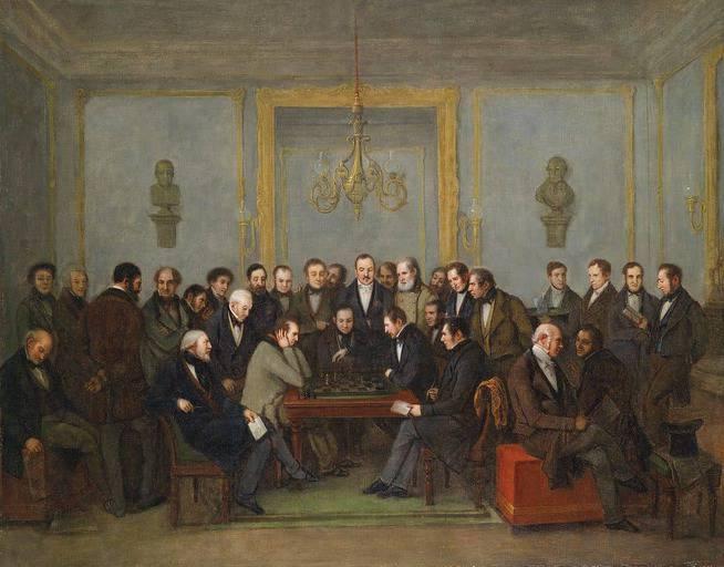 אחד מקרבות השחמט המפורסמים ביותר של קפה לה רז'אנס. סן אמנט נגד סטאונטון דצמבר 1843. מקור תמונה ויקיפדיה.