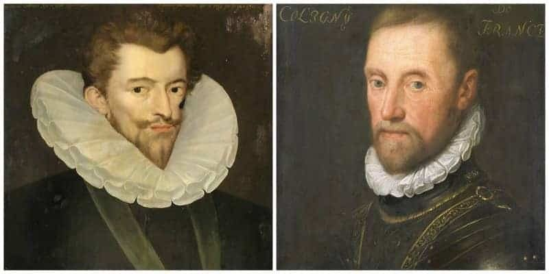 גספאר דה קוליניי מימין ואנרי דה גיז אויבו מצד שמאל. מקור התמונות ויקיפדיה.