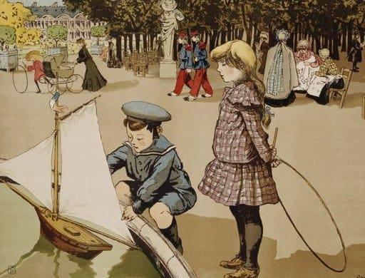 ילדים משיטים סירות בגני לוקסמבורג לפני 100 שנה. שום דבר לא השתנה.