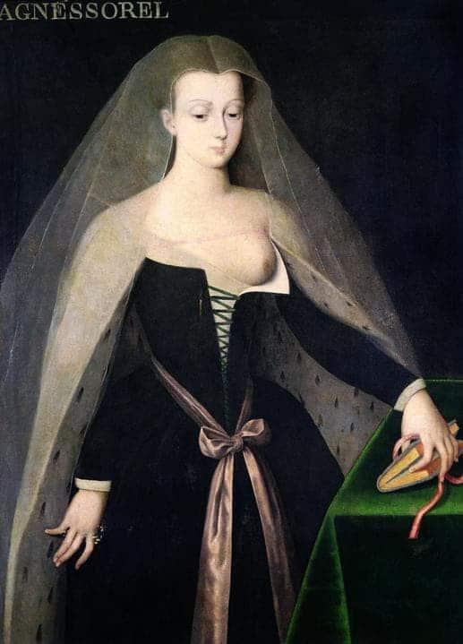 """אמן אנונימי, דיוקן אנייס סורל, מאה 16, שמן על לוח, 97X130 ס""""מ, אוסף פרטי (העתק נמצא בטירת לוש). מקור תמונה: ויקיפדיה."""
