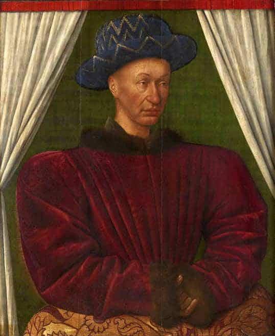 """ז'אן פוקה, דיוקן המלך שארל השביעי, 1445 בקרוב, עץ, 72X86 ס""""מ, מוזיאון לובר, פריז"""