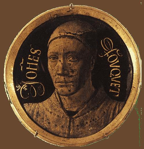 """ז'אן פוקה, דיוקן עצמי מיניאטורי, 1459, נחושת אמייל, קוטר 8 ס""""מ, מוזיאון הלובר. מקור תמונה: ויקיפדיה."""
