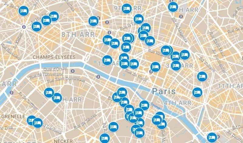 מפת המלונות של פריז