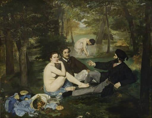 """אדואר מאנה, ארוחת הבוקר על הדשא, 1863, שמן על בד, 268.5X208 ס""""מ, מוזיאון ד'אורסה, פריז. מקור תמונה: ויקיפדיה"""