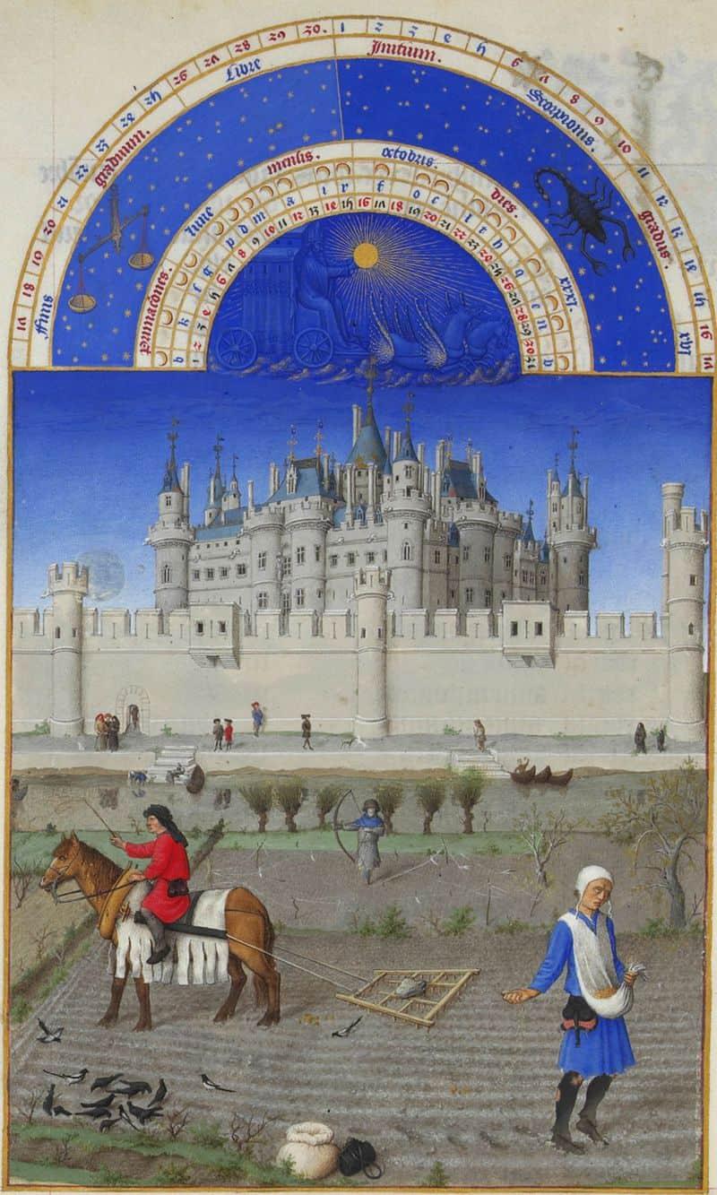 ציור של ארמון הלובר של ימי הביניים מתוך ספר השעות של הדוכס מברי. מקור תמונה: ויקיפדיה.