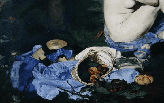 """אדואר מאנה, פרט מארוחת הבוקר על הדשא, 1863, שמן על בד, 268.5X208 ס""""מ, מוזיאון ד'אורסה, פריז. מקור תמונה: ויקיפדיה."""