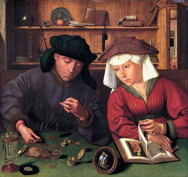 דיוקן של חלפן כספים ואשתו מאת קוונטין מטסיס. מקור תמונה: ויקיפדיה
