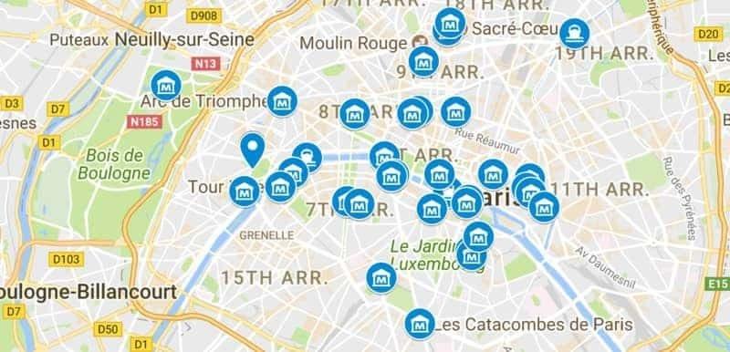 מפת האטרקציות של פריז