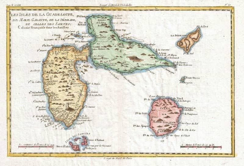 מפת גואדלופ (מקום לידתו של סן-ז'ורז') מאת ריינל. מקור תמונה: ויקיפדיה.