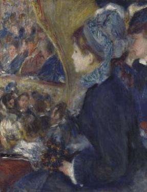 """אוגוסט רנואר, בתיאטרון"""" (היציאה הראשונה), 1876, שמן על בד, הגלריה הלאומית, לונדון"""