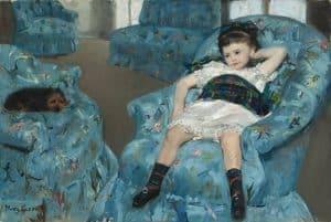 מארי קאסאט, ילדה קטנה בכורסא כחולה, 1878, שמן על בד, הגלריה הלאומית, וושינגטון
