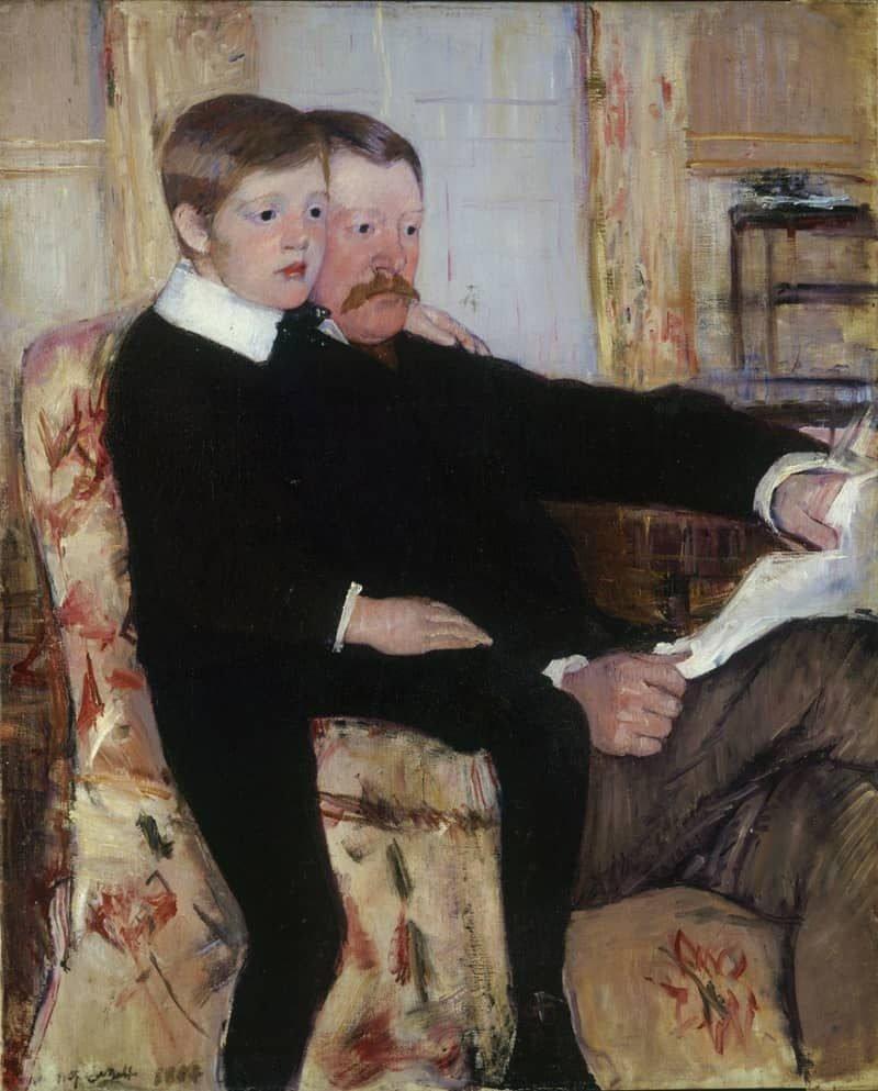 מארי קאסאט, פורטרט אלכסנדר ג'י קאסאט ובנו, רוברט קלסו קאסאט, 1884, שמן על בד, מוזיאון פילדלפיה לאמנות