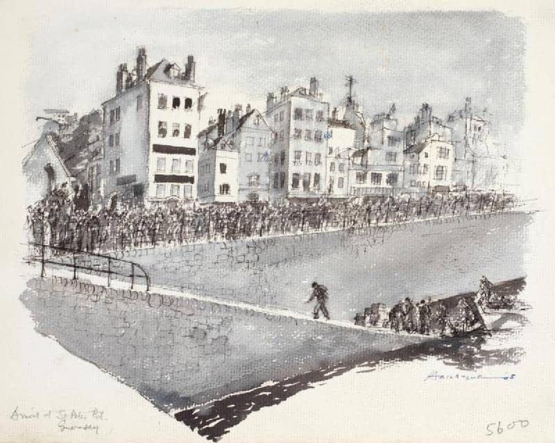 חיילים מגיעים לגרנזי בשנת 1945. תמונה ממוזיאון המלחמה בלונדון. הבניין השמאלי ביותר בתמונה הוא מלון אירופה בו התגורר ויקטור הוגו ואילו בבניין הימני ביותר בתמונה התגוררה המאהבת שלו.