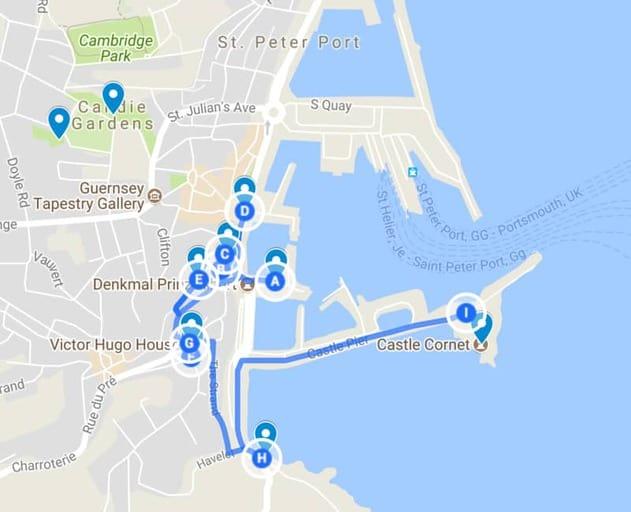 מפת מסלול הטיול בעיירה סנט פיטר פורט בעקבות ויקטור הוגו. נא ללחוץ על המפה כדי לפתוח אותה בחלון נפרד.