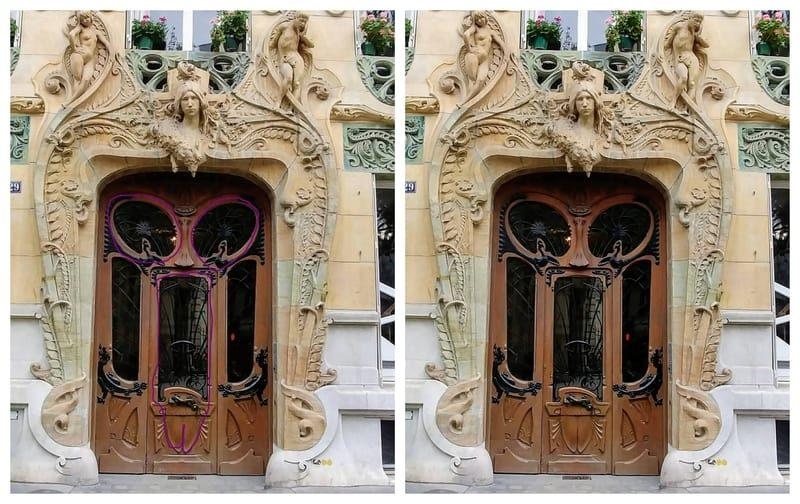 מימין התמונה המקורית של דלת הבית של לווירוט. משמאל תרשים (לא מוצלח במיוחד) שלי של קווי המתאר של איבר המין המזדקר בדלת. צילום: יואל תמנליס