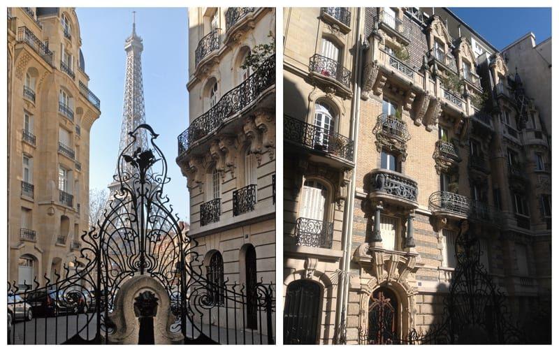 מימין בית בעיצובו של לוויוט ב Square Rapp 3 ומימין שער מתכת יפהפה עם נוף למגדל אייפל. מקור תמונות: ויקיפדיה.
