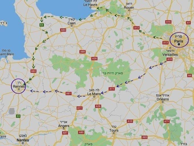 מפתח הנסיעה מפריז לעיר רן (Rennes)