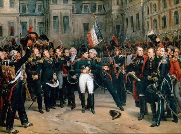 נפוליון נפרד מחייליו בפונטנבלו. מקור תמונה: ויקיפדיה.