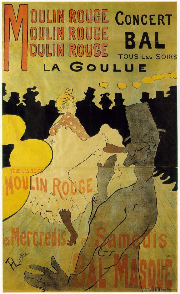 פוסטר של טולוז לוטרק שמציג את לה גולו, רקדנית הקאן קאן המפורסמת של המולן רוז'. מקור תמונה: ויקיפדיה.