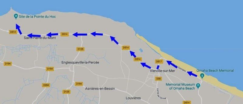 הדרך ל POINTE DE HOC.