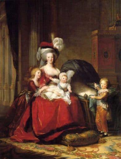 """אליזבת ויז'ה לה ברן, מארי אנטואנט וילדיה, 1787, שמן על בד, 195X270 ס""""מ, ארמון ורסאי. מקור תמונה ויקיפדיה."""