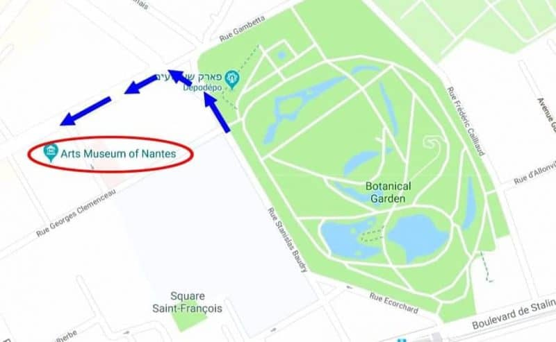 כיצד להגיע למוזיאון האומנויות היפות של העיר נאנט.