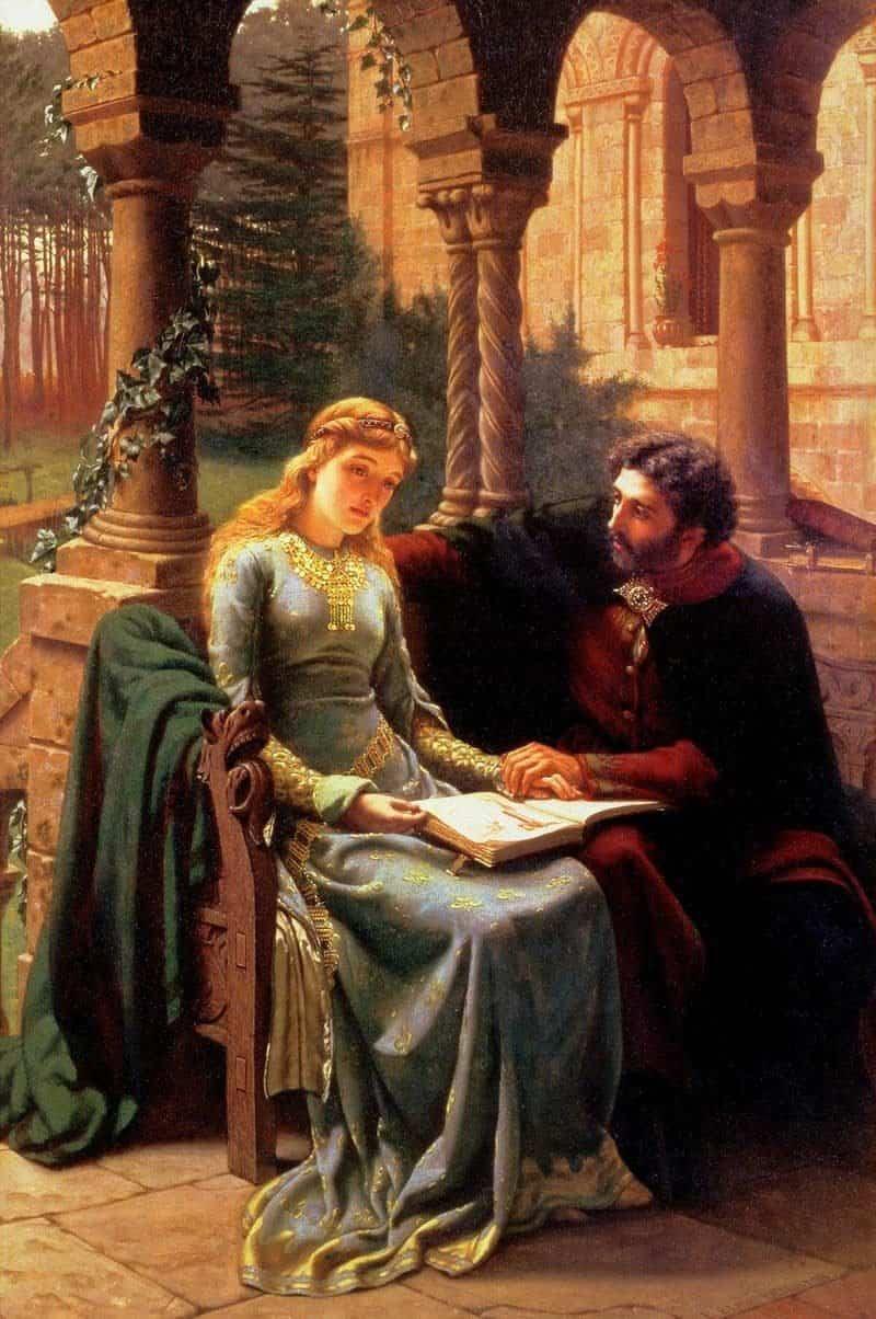 אבלר מלמד את אלואיז בחצר הנוטרדאם. ציור מאת Edmund Leighton. מקור ציור: ויקיפדיה.