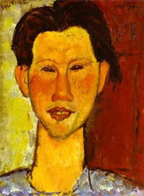 אמדאו מודיליאני, דיוקן של חיים סוטין, 1915. מקור תמונה: http://www.famous-painters.org/Amedeo-Modigliani/Portrait-of-Chaim-Soutine.shtm