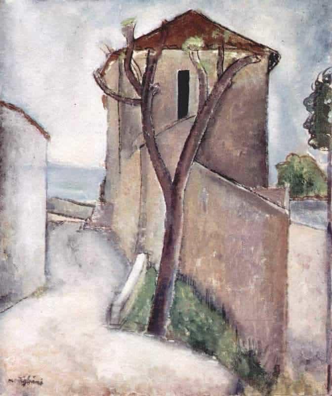אמדאו מודיליאני, עץ ובית, 1919. מקור תמונה: ויקיפדיה.