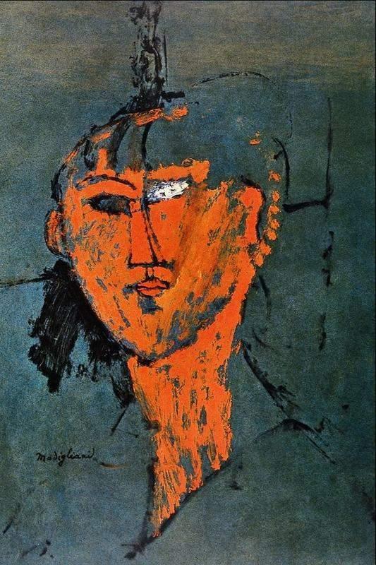 אמדאו מודיליאני, ראש אדום, 1915. מקור תמונה: ויקיפדיה.