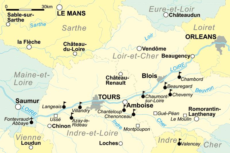 מפת עמק הלואר - מקור תמונה: ויקיפדיה.