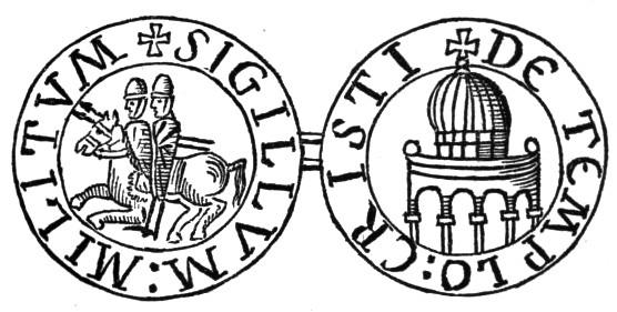 סמל מסדר הטמפלרים. מצד אחד שני אבירים על סוס ומצד שני המסגד שעל הר הבית שהם הפכו לכנסיה. מקור תמונה: ויקיפדיה.