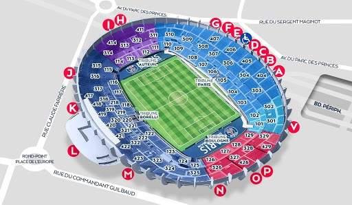 מפת האצטדיון של פריז סן ז'רמן.