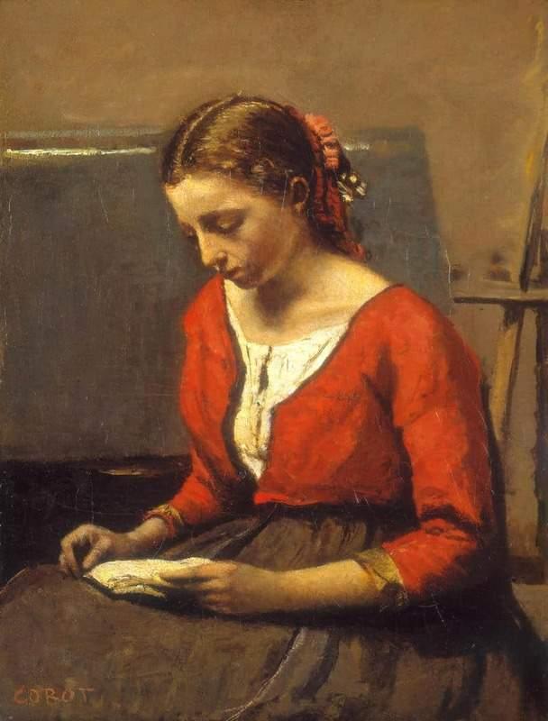 קמי קורו, הקוראת (אישה בחולצה אדומה), 1845/50.
