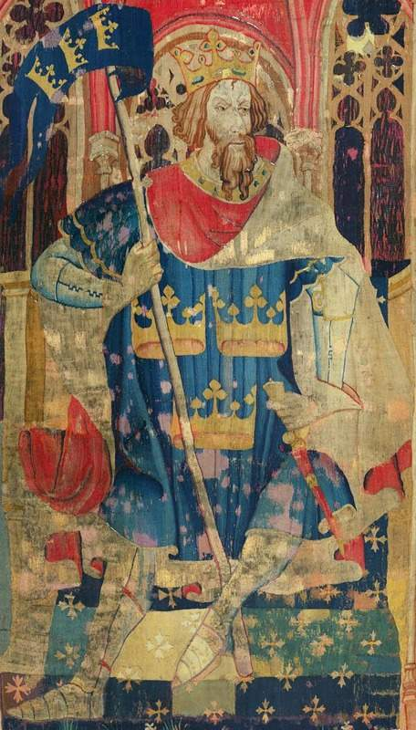 ציור של המלך ארתור על שטיח קיר משנת 1385. מקור צילום: ויקיפדיה.