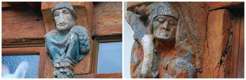 בית truie qui file la. הפסלים בקומות העליונות.