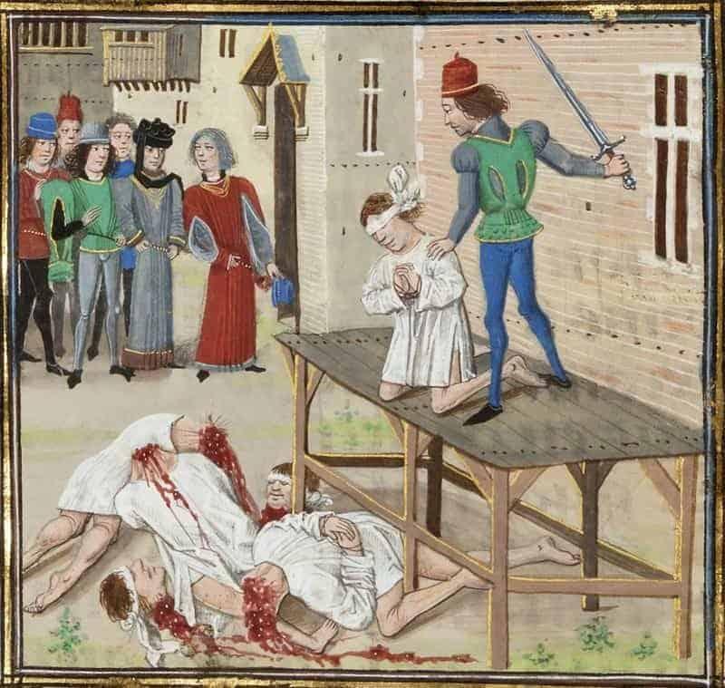 הוצאתו להורג של אוליבייה דה קליסון ה-4 בשנת 1343. מקור תמונה: ויקיפדיה.