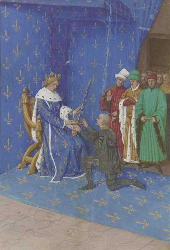 די גקלן מקבל את החרב שלו מהמלך שארל ה-5. מקור תמונה: ויקיפדיה.