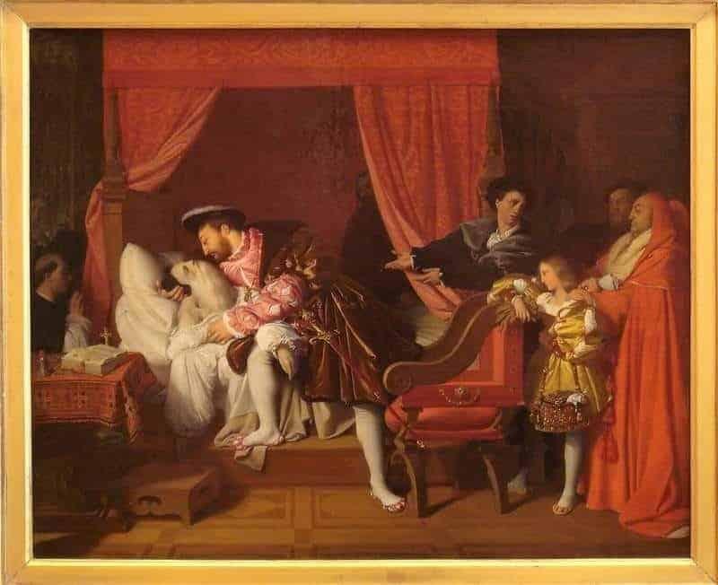 ציור של אנגר המתאר את מותו של ליאונרדו דה וינצ'י בזרועותיו של פרנסואה ה-1. מקור תמונה: ויקיפדיה.