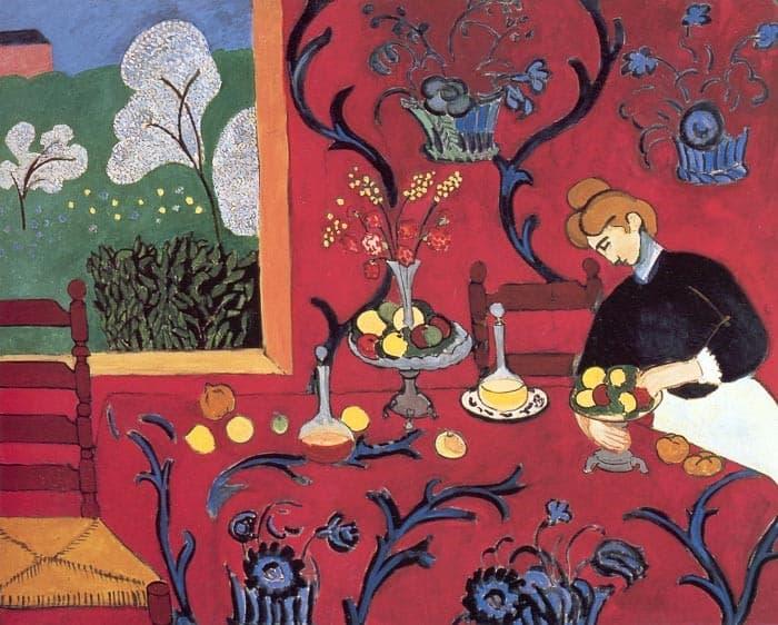אנרי מאטיס , שולחן האוכל – הרמוניה באדום 1910. מקור תמונה: ויקיפדיה