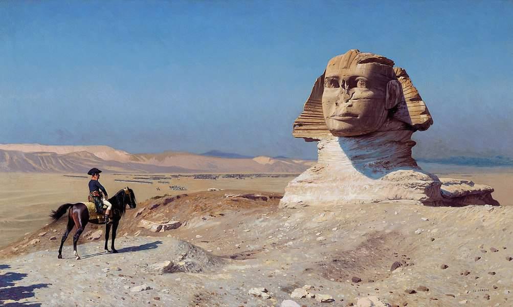 בונפרט לפני הספינקס. ציור של ז'אן לאון ז'רום. מקור תמונה: ויקיפדיה.