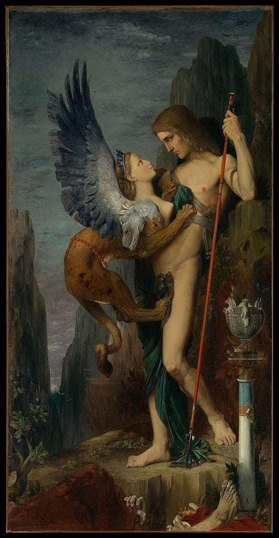 גוסטב מורו 1864 אדיפוס והספינקס ציור זה נמצא במוזיאון מטרופוליטן בניו יורק. מקור תמונה: ויקיפדיה.